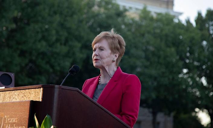 In this 2019 file photo, Republican Congresswoman Kay Granger speaks at Fort Worth's Texas Wesleyan University, which named a green space after her.
