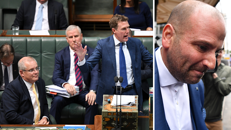 Left: Scott Morrison (left) and Christian Porter (right) during parliamentary question time; Right: George Calombaris.