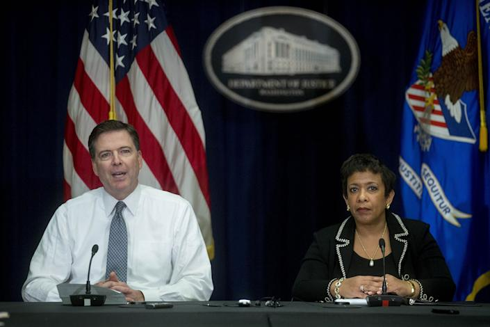 Former FBI Director James Comey (left) and former Attorney General Loretta Lynch are among the five high-profile witnesses who've been called to testify as part of the Republican-led inquiry into the FBI and Justice Department's Russia probe. (Photo: Bloomberg/Getty Images)