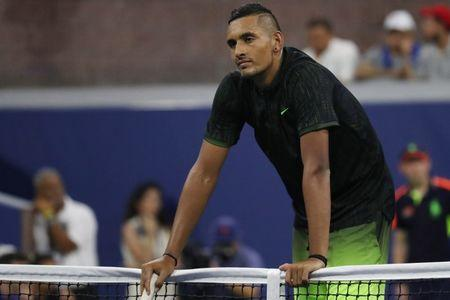 Sep 1, 2016; New York, NY, USA; Nick Kyrgios of Australia reacts after missing a shot against Horacio Ceballos of Argentina on day four of the 2016 U.S. Open tennis tournament at USTA Billie Jean King National Tennis Center. Kyrgios won 7-5, 6-4, 6-4. Mandatory Credit: Geoff Burke-USA TODAY Sports  / Reuters  Picture Supplied by Action Images *** Local Caption *** 2016-09-02T031248Z_896517383_NOCID_RTRMADP_3_TENNIS-U-S-OPEN.JPG
