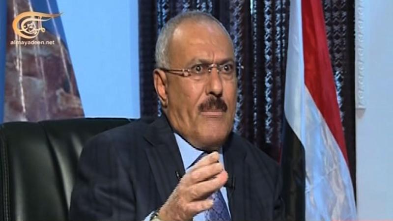 Yemen's ex-president Ali Abdullah Saleh gives an interview at an undisclosed location, in an image grab taken from a video broadcasted by Beirut-based Al-Mayadeen television channel on May 29, 2015