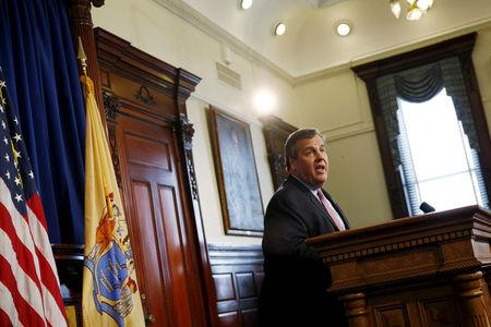 FILE PHOTO - New Jersey Governor Chris Christie speaks in a press conference at the State House in Trenton