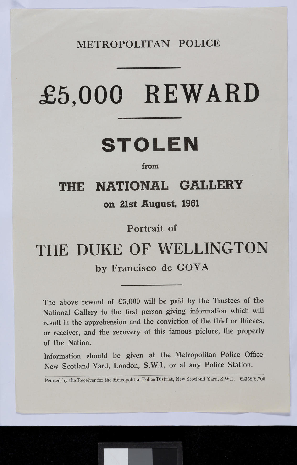 Archival Record relating to the theft of Goya's 'Portrait of the