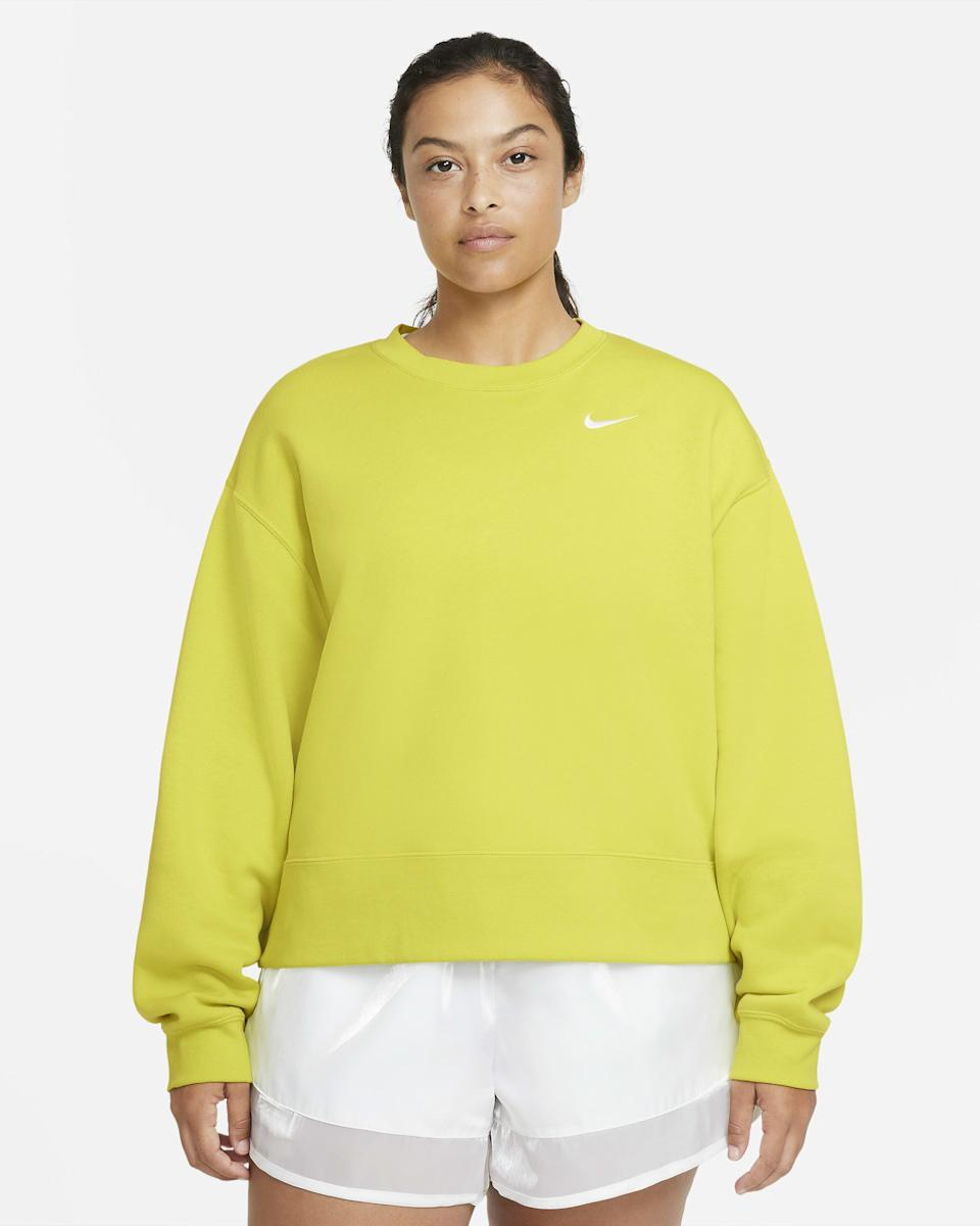 """<p><strong>nike</strong></p><p>nike.com</p><p><strong>$60.00</strong></p><p><a href=""""https://go.redirectingat.com?id=74968X1596630&url=https%3A%2F%2Fwww.nike.com%2Ft%2Fsportswear-essential-womens-crew-plus-size-FfSnwc&sref=https%3A%2F%2Fwww.goodhousekeeping.com%2Fclothing%2Fg35139110%2Fbest-plus-size-workout-clothes%2F"""" rel=""""nofollow noopener"""" target=""""_blank"""" data-ylk=""""slk:Shop Now"""" class=""""link rapid-noclick-resp"""">Shop Now</a></p><p>If you take walks in the winter, this Nike crewneck is <strong>made from soft, heavyweight fleece to keep you warm</strong>. It's slightly cropped and simple besides the iconic brand logo in the corner, so it can be paired with any bottoms. </p><p><strong>RELATED:</strong> <a href=""""https://www.goodhousekeeping.com/clothing/g31989983/best-athleisure-wear-brands/"""" rel=""""nofollow noopener"""" target=""""_blank"""" data-ylk=""""slk:25 Cute Activewear and Athleisure Staples That Go from Workout to Night Out"""" class=""""link rapid-noclick-resp"""">25 Cute Activewear and Athleisure Staples That Go from Workout to Night Out</a></p>"""