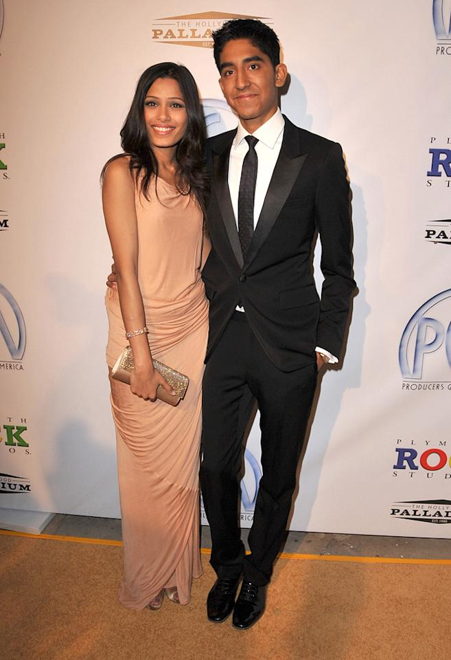 """<a href=""""http://movies.yahoo.com/movie/contributor/1810042390"""">Freida Pinto</a> and <a href=""""http://movies.yahoo.com/movie/contributor/1810042384"""">Dev Patel</a> at the 20th Annual Producers Guild Awards in Hollywood - 01/24/2009"""