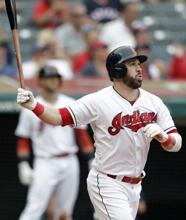 Cleveland Indians' Jason Kipnis watches his ball after hitting a three-run home run off Chicago White Sox relief pitcher Bruce Rondon in the sixth inning of a baseball game, Wednesday, June 20, 2018, in Cleveland. Edwin Encarnacion and Yonder Alonso scored on the play. (AP Photo/Tony Dejak)