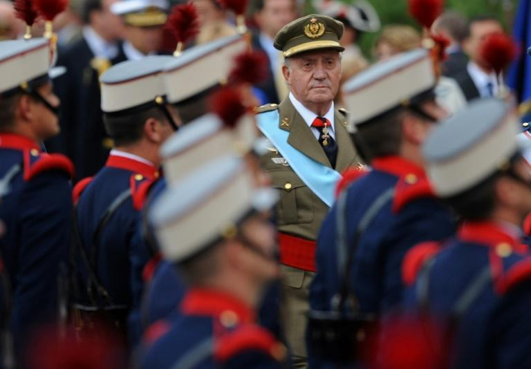 Better days: Juan Carlo during 2008 national day celebrations in Madrid (AFP Photo/Pierre-Philippe MARCOU)