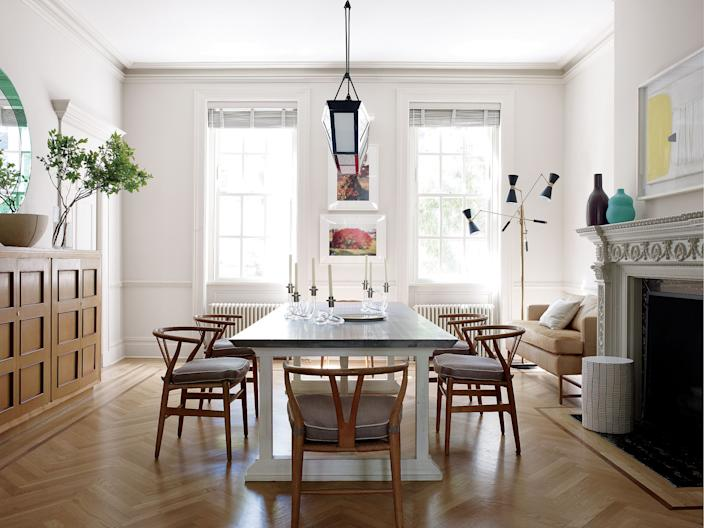 """<div class=""""caption""""> The dining room of a Manhattan town house by Leroy Street Studio and Christine Markatos Lowe. Art by David Armstrong. </div> <cite class=""""credit"""">Waldron William</cite>"""