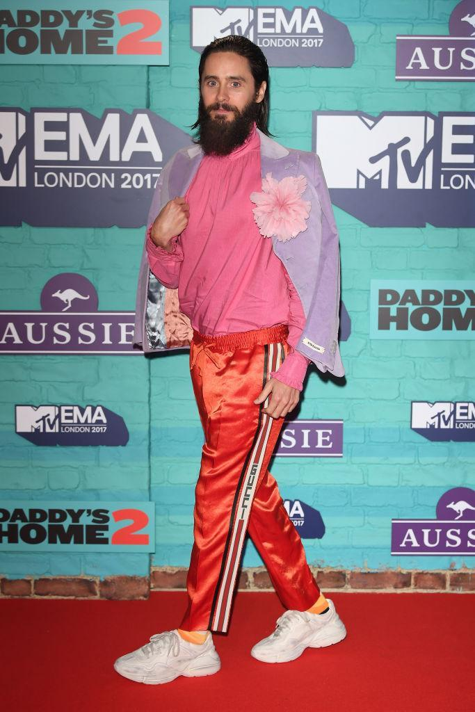 <p>Jared Leto opted for a sports-luxe look courtesy of go-to brand, Gucci. (Photo: Getty Images) </p>