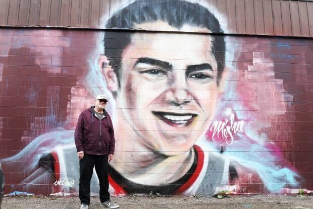 Lorne Pavelick said he feels mixed emotions when walking by the mural in his neighbourhood of Cathedral in Regina but mainly gratitude for the artist, Jayde Goodon.