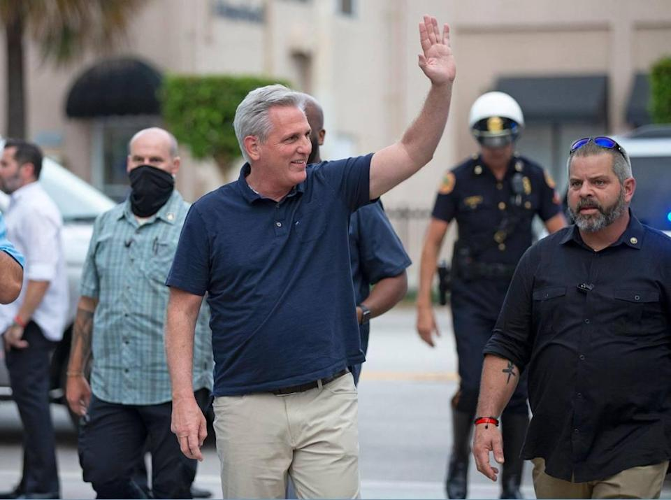 House Republican Leader Kevin McCarthy, along with Miami's Republican congressional delegation, attended a rally in support of anti-government protesters in Cuba at Versailles Restaurant on SW Eighth Street in Little Havana, on Wednesday, August 4, 2021.
