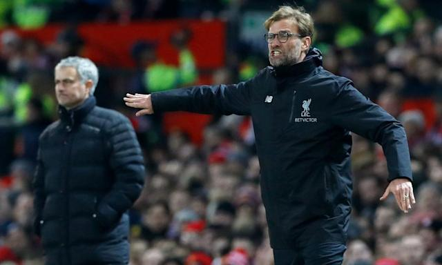 "<span class=""element-image__caption"">Jürgen Klopp, right, knows all about the travails of the Europa League having reached the final, and lost it, with Liverpool last season.</span> <span class=""element-image__credit"">Photograph: Martin Rickett/PA</span>"