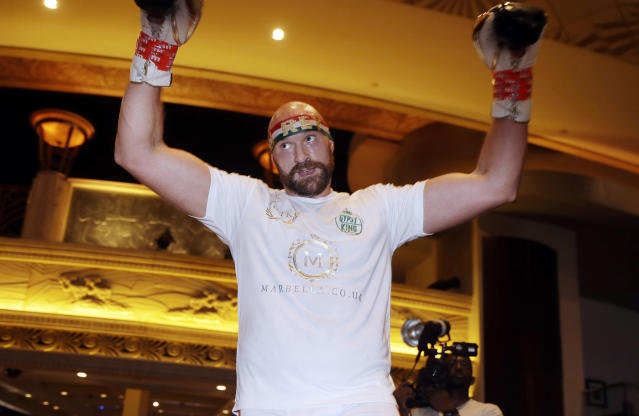 Tyson Fury attends an open workout Tuesday, Sept. 10, 2019, in Las Vegas. Fury is scheduled to face Otto Wallin in a heavyweight boxing match Saturday. (AP Photo/Isaac Brekken)