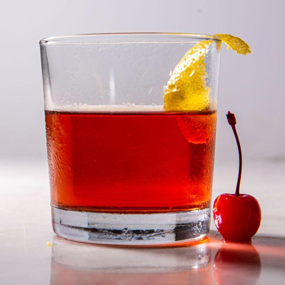 """<p>A Sazerac is the official cocktail of New Orleans and a must on Mardi Gras. This version uses a little maraschino cherry juice to tame the boozy burn.</p><p><em><a href=""""https://www.delish.com/cooking/recipe-ideas/a30121457/cherry-sazerac-recipe/"""" rel=""""nofollow noopener"""" target=""""_blank"""" data-ylk=""""slk:Get the recipe from Delish »"""" class=""""link rapid-noclick-resp"""">Get the recipe from Delish »</a></em></p><p><strong>RELATED: </strong><a href=""""https://www.goodhousekeeping.com/food-recipes/g28669841/best-classic-cocktails/"""" rel=""""nofollow noopener"""" target=""""_blank"""" data-ylk=""""slk:24 Totally Delicious Classic Cocktails to Make at Home"""" class=""""link rapid-noclick-resp"""">24 Totally Delicious Classic Cocktails to Make at Home</a><br></p>"""