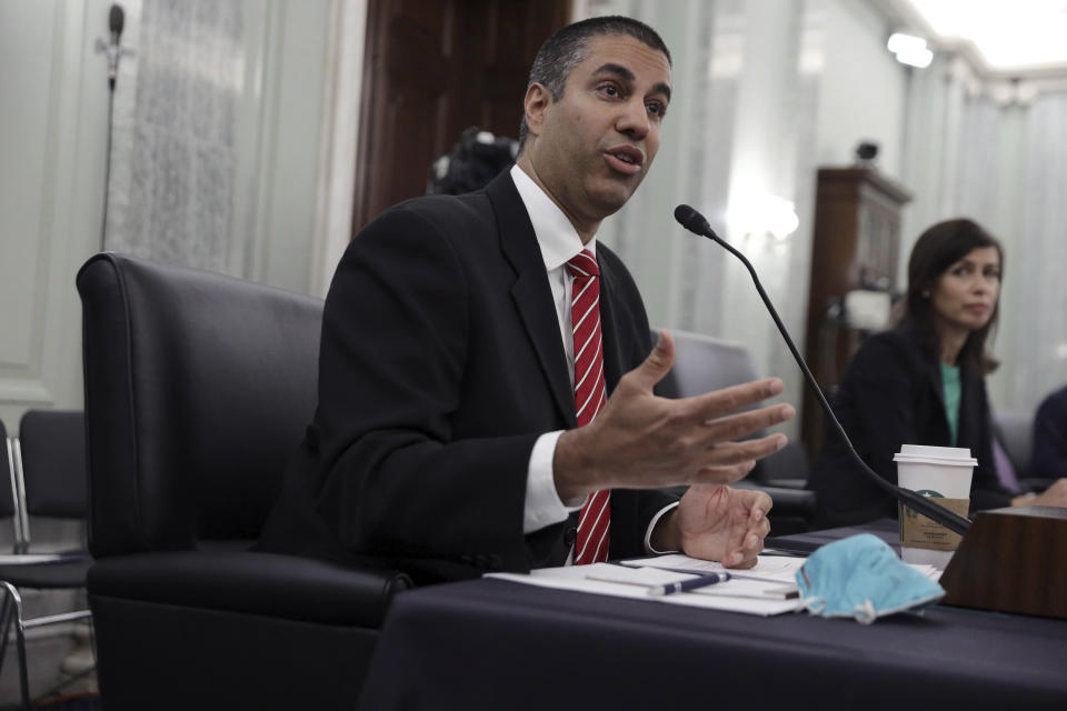 Federal Communications Commission Chairman Ajit Pai testifies during a Senate Commerce, Science, and Transportation committee hearing to examine the Federal Communications Commission on Capitol Hill in Washington, Wednesday, June 24, 2020. (Alex Wong/Pool via AP)