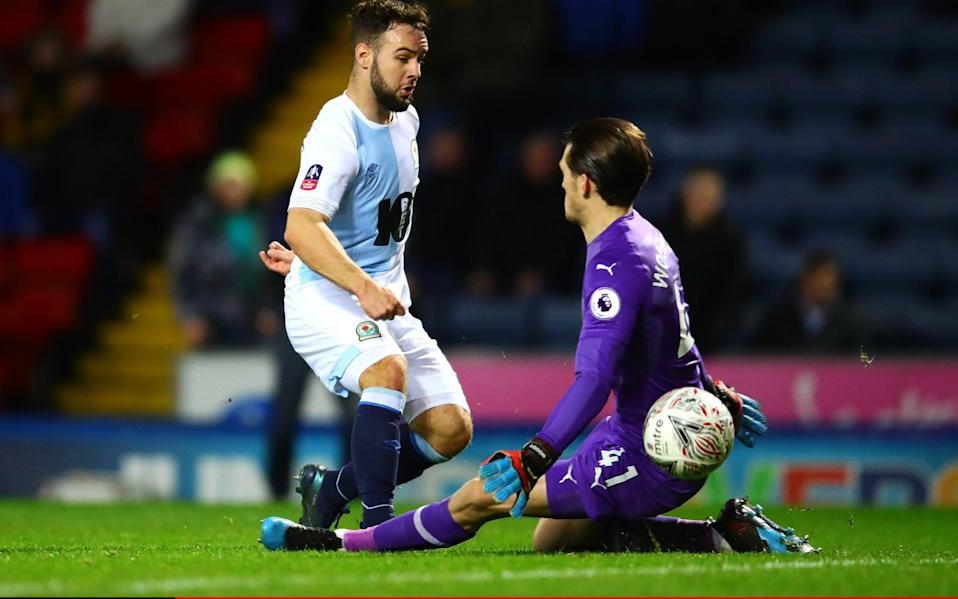 Adam Armstrong of Blackburn Rovers scores his side's first goal past Freddie Woodman of Newcastle United during the FA Cup Third Round - Getty Images