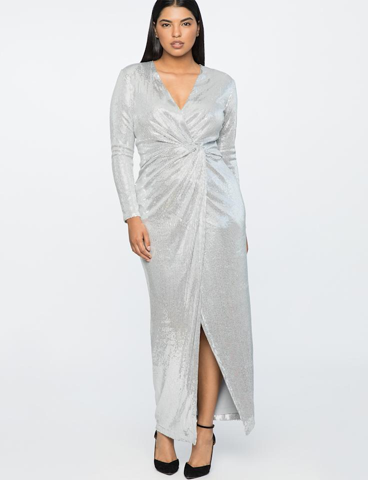 "<p>Walk into any room on NYE wearing this dress and all eyes will be on you. <br />Jason Wu x Eloquii sequined wrap gown, $180, <a rel=""nofollow"" href=""https://fave.co/2OiEHGU"">eloquii.com</a> </p>"