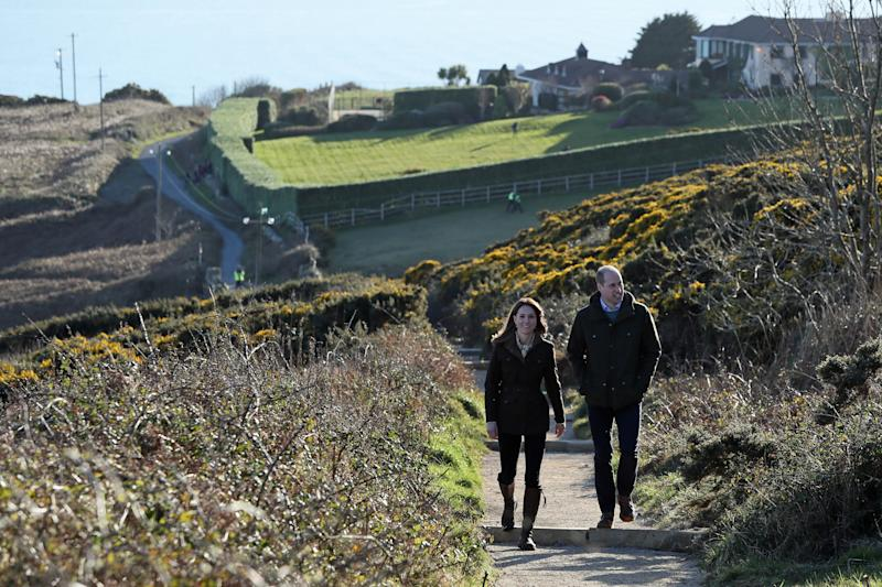 The Duke and Duchess of Cambridge during a visit to Howth Head near Dublin, as part of their three day visit to the Republic of Ireland. PA Photo. Picture date: Wednesday March 4, 2020. See PA story ROYAL Cambridge. Photo credit should read: Brian Lawless/PA Wire