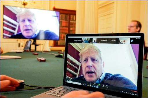 Johnson in einer Videokonferenz