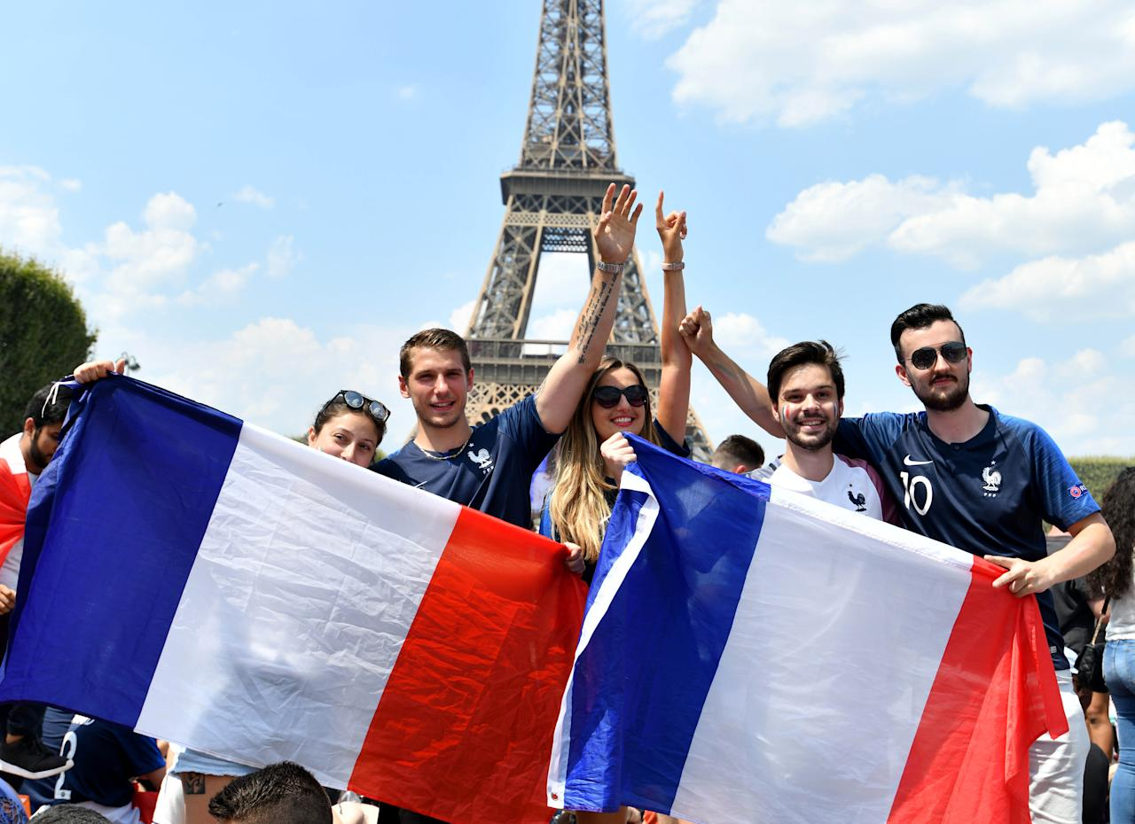 <p>French supporters gather for the FIFA World Cup 2018 final soccer match between France and Croatia on the Champ de Mars in Paris, France on July 15, 2018. (Getty Images) </p>