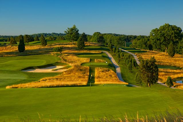 "<div class=""caption""> A look back from the fourth green at French Lick's Ross course. </div> <cite class=""credit"">Brian Walers Photography</cite>"