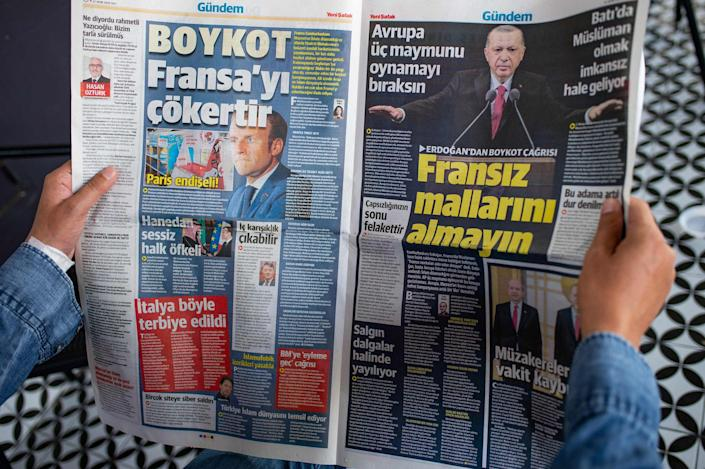 Image: The Pro-government newspaper Yeni Safak calling for a boycott of French goods, Istanbul (Yasin Akgul / AFP - Getty Images)
