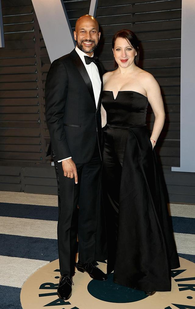 <p>Key and his director fiancée were no doubt on hand to support comedy partner Jordan Peele's big Oscar win. (Photo: Frederick M. Brown/FilmMagic) </p>