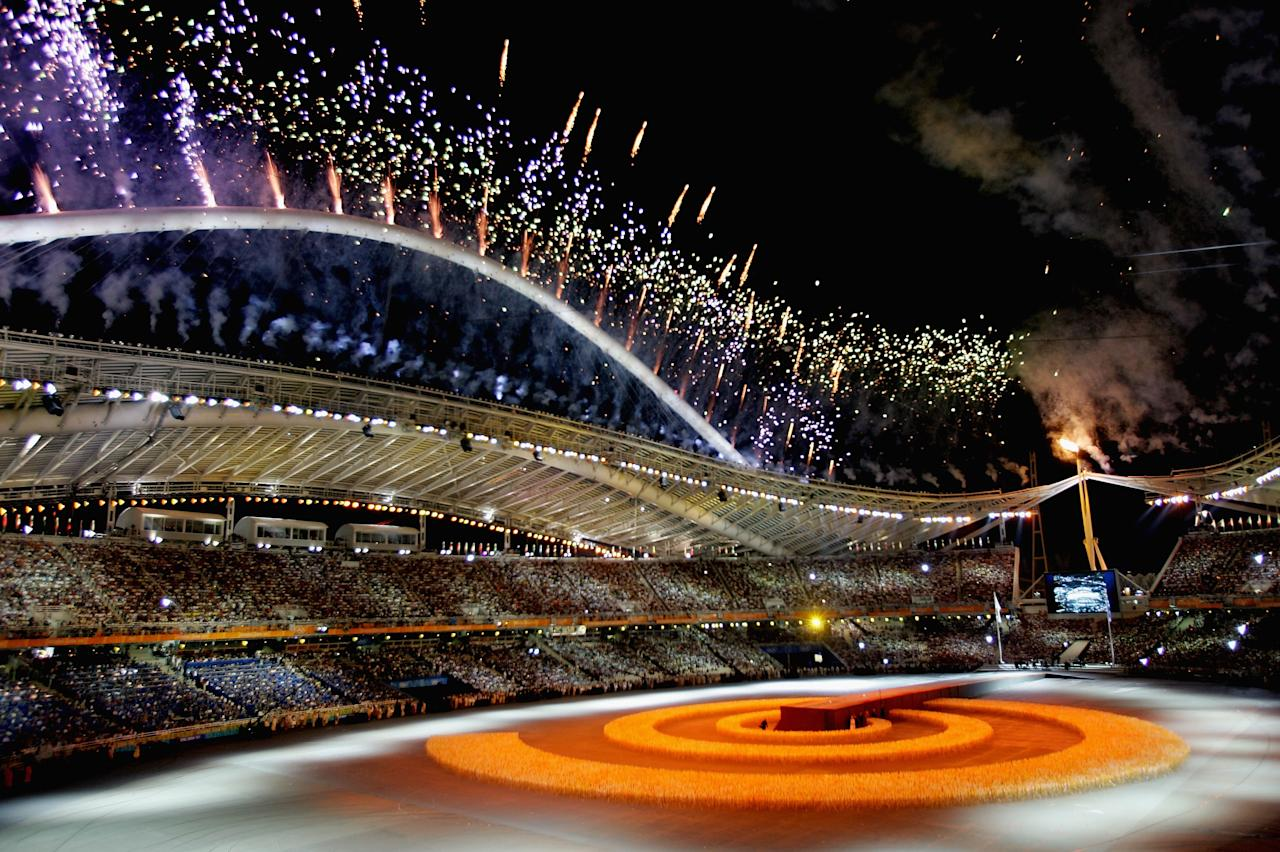 ATHENS - AUGUST 29: Fireworks are seen during the closing ceremony of the Athens 2004 Summer Olympic Games on August 29, 2004 at the Sports Complex Olympic Stadium in Athens, Greece. (Photo by Stuart Franklin/Getty Images)