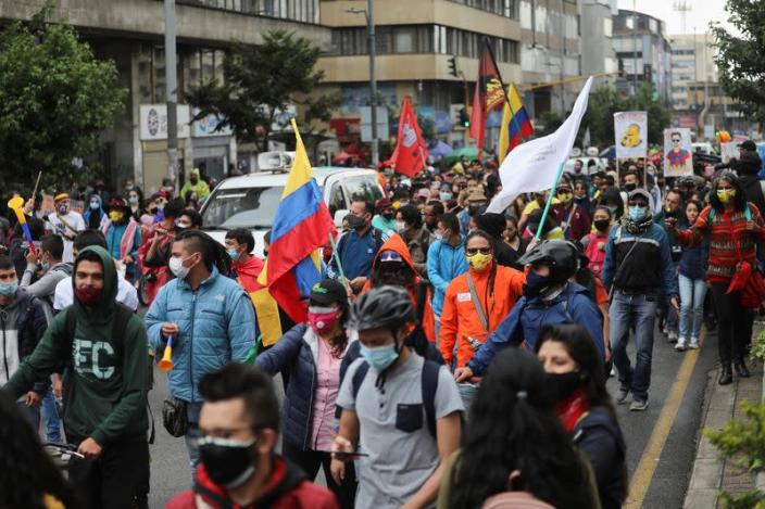 Protest against the tax reform in Bogota