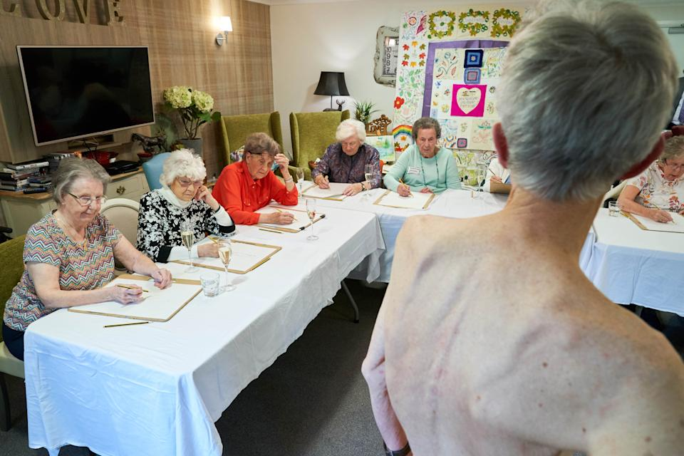 Some 10 care home residents took part in the life drawing class. [Photo: Simon Jacobs]