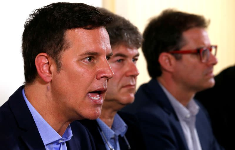FILE PHOTO: Three victims of clerical sexual abuse in Chile Juan Carlos Cruz, James Hamilton and Jose Andres Murillo attend a news conference at the Foreign Press in Rome