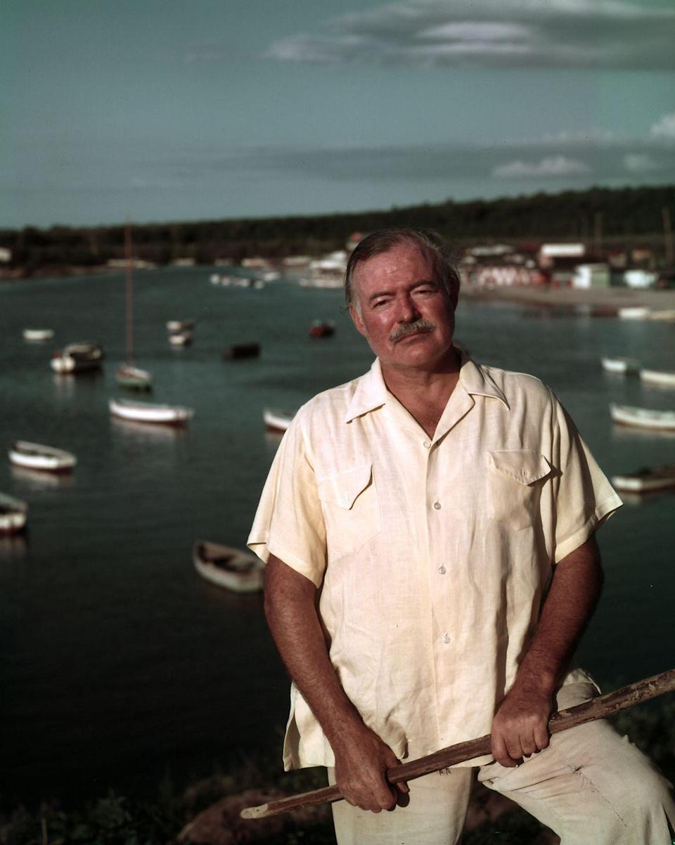 """<p>After the monumental success of his novel, <em><a href=""""https://www.amazon.com/Old-Man-Sea-Ernest-Hemingway/dp/0684801221?tag=syn-yahoo-20&ascsubtag=%5Bartid%7C10067.g.36892485%5Bsrc%7Cyahoo-us"""" rel=""""nofollow noopener"""" target=""""_blank"""" data-ylk=""""slk:The Old Man and the Sea"""" class=""""link rapid-noclick-resp"""">The Old Man and the Sea</a></em>, Hemingway was presented with another highly prestigious award: a Nobel Prize. </p>"""