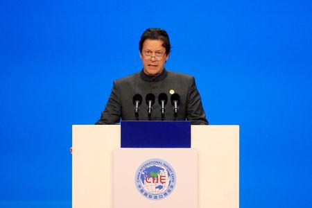 FILE PHOTO: Pakistani Prime Minister Imran Khan speaks at the opening ceremony for the first China International Import Expo (CIIE) in Shanghai, China November 5, 2018.  REUTERS/Aly Song/Pool/File Photo