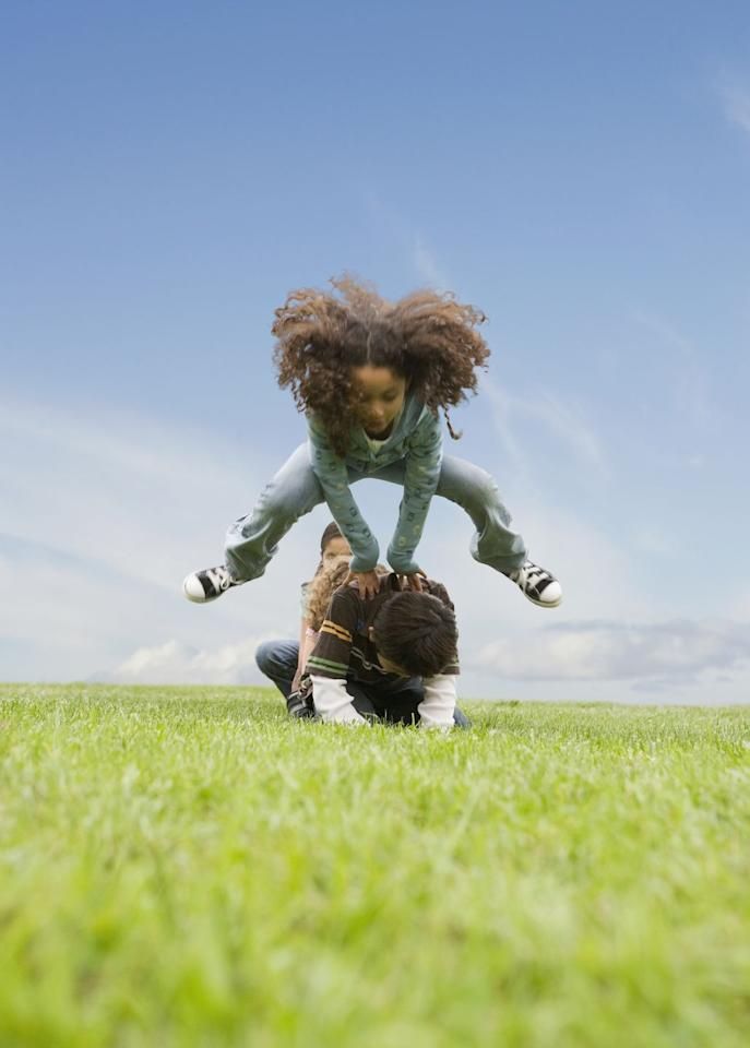 <p>This classic game can go on forever if your kids want it to. To play, little ones take turns jumping over each other's backs. Want to play a more competitive game? See who can leap the furthest or jump the highest. </p>