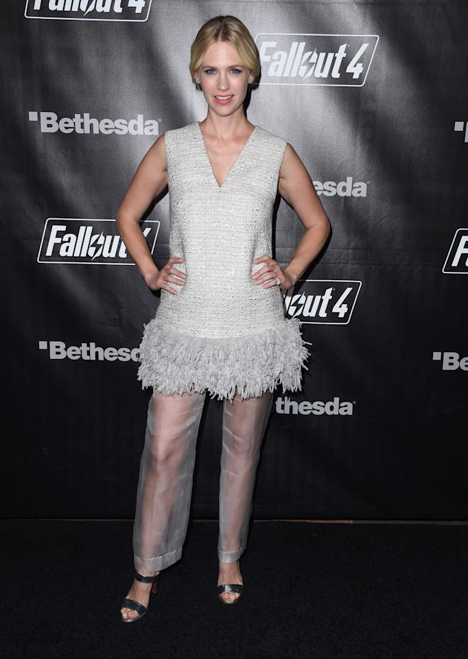 <p>January Jones is such a good sport. Not only did she attend the launch of a video game in a war-torn world, but she was like,'Screw it, I'm going to wear the most fashun outfit of all time.' Looking like a couture Big Bird, it's almost like she walked out of her California home and decided that her party dress was just not enough, had her Uber SUV stop at the costume store where everything was on major discount, and threw them on in the back of the car before hitting the red carpet. Basically, it seems her motto is, if you're going to a weird party, dress the part.<i>Photo: Getty Images</i></p>