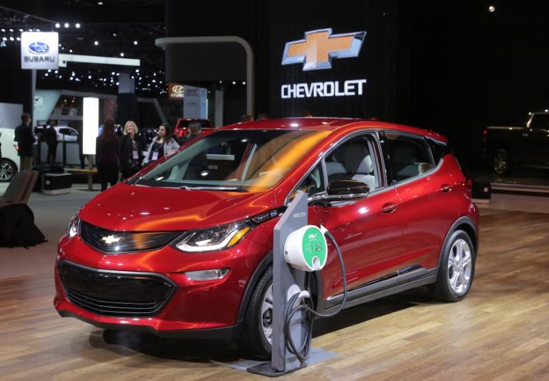 FILE PHOTO: Chevrolet Bolt is displayed at the North American International Auto Show in Detroit, Michigan