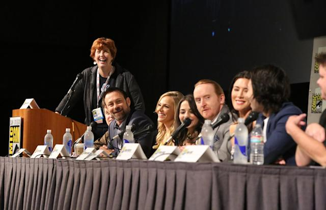 "Maureen Ryan, Executive Producer Kevin Murphy, Grant Bowler, Julie Benz, Stephanie Leonidas, Tony Curran, Jaime Murray, and Jesse Rath at the ""Defiance"" Panel in San Diego, CA on Friday, July 19, 2013."