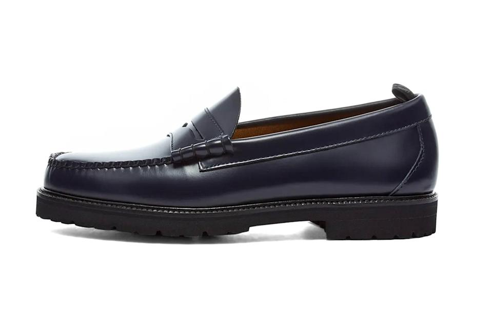 """<p>Beefed-up, ridge-sole loafers will effortlessly anchor your biggest fits—from <a href=""""https://www.gq.com/story/the-best-corduroy-pants?mbid=synd_yahoo_rss"""" rel=""""nofollow noopener"""" target=""""_blank"""" data-ylk=""""slk:the wide-wale cords"""" class=""""link rapid-noclick-resp"""">the wide-wale cords</a> you're wearing now to the Baggies you plan to live in come Memorial Day.</p> <p><em>Fred Perry x G.H. Bass penny loafer</em></p> $220, End Clothing. <a href=""""https://www.endclothing.com/us/fred-perry-x-g-h-bass-penny-loafer-sb8070-608.html"""" rel=""""nofollow noopener"""" target=""""_blank"""" data-ylk=""""slk:Get it now!"""" class=""""link rapid-noclick-resp"""">Get it now!</a>"""