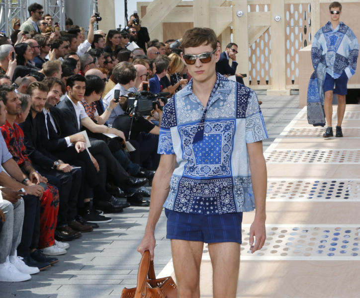 A model wears a creation by British fashion designer Kim Jones for Louis Vuitton's Spring-Summer 2014 men's collection presented Thursday, June 27, 2013 in Paris. (AP Photo/Jacques Brinon)