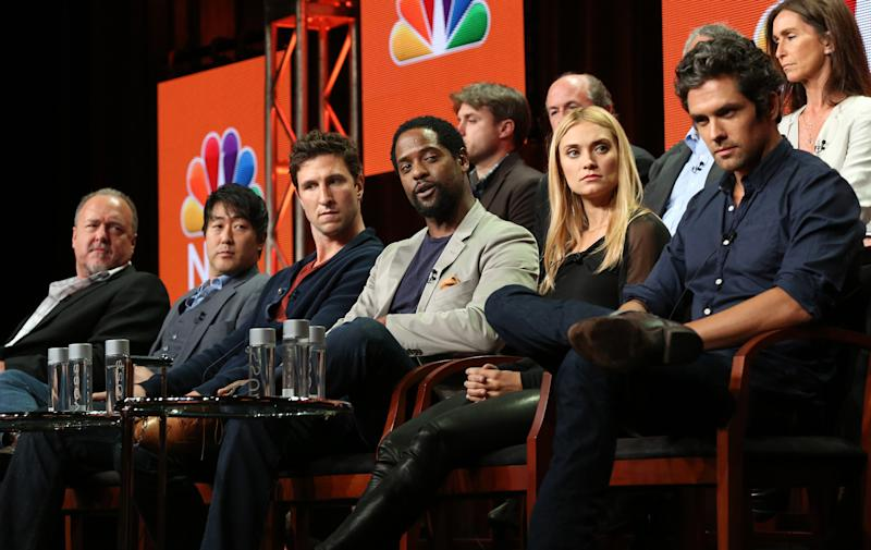 """This image released by NBC shows,front tow from left, Brent Sexton, Kenneth Choi, Pablo Schreiber, Blair Underwood, Spencer Grammar and Neal Bledsoe at the """"Ironside"""" session during the NBCUniversal Press Tour in Beverly Hills, Calif., on Saturday, July 27, 2013. (AP Photo/NBC, Chris Haston)"""