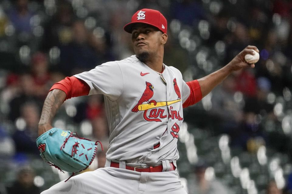 St. Louis Cardinals relief pitcher Genesis Cabrera throws during the sixth inning of a baseball game against the Milwaukee Brewers Wednesday, May 12, 2021, in Milwaukee. (AP Photo/Morry Gash)