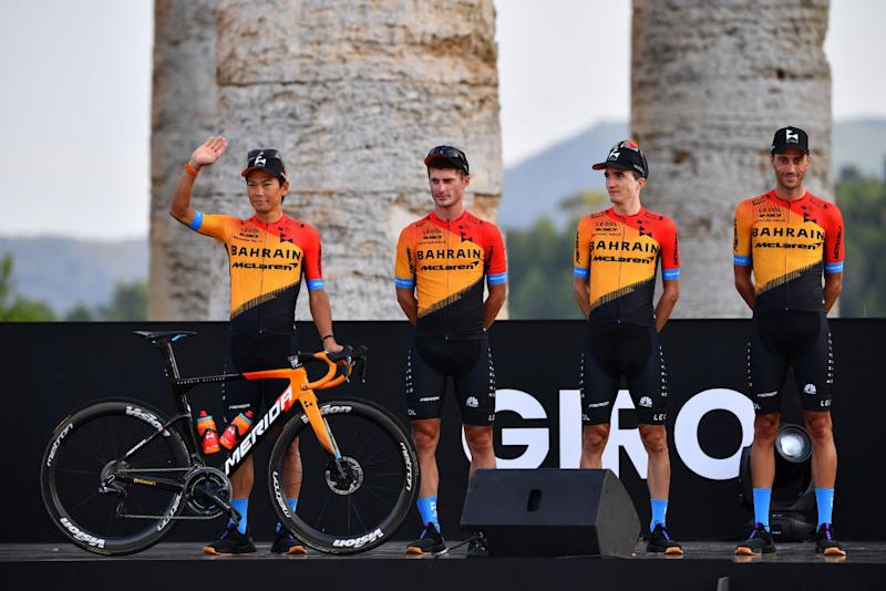 PALERMO ITALY OCTOBER 01 Yukiya Arashiro of Japan Enrico Battaglin of Italy Pello Bilbao of Spain Eros Capecchi of Italy and Team Bahrain Mclaren during the 103rd Giro dItalia 2020 Team Presentation in Archaeological Park of Segesta in Palermo City Temple of Segesta girodiitalia Giro on October 01 2020 in Palermo Italy Photo by Stuart FranklinGetty Images