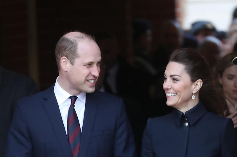 LOUGHBOROUGH, UNITED KINGDOM - FEBRUARY 11: Prince William, Duke of Cambridge and Catherine, Duchess of Cambridge depart the Defence Medical Rehabilitation Centre, Stanford Hall on February 11, 2020 in Loughborough, United Kingdom. Known as 'DMRC Stanford Hall', the centre is operated by the MOD and began admitting patients in October 2018. They deliver in-patient and residential rehabilitation to serving members of the Armed Forces. (Photo by Chris Jackson/Getty Images)