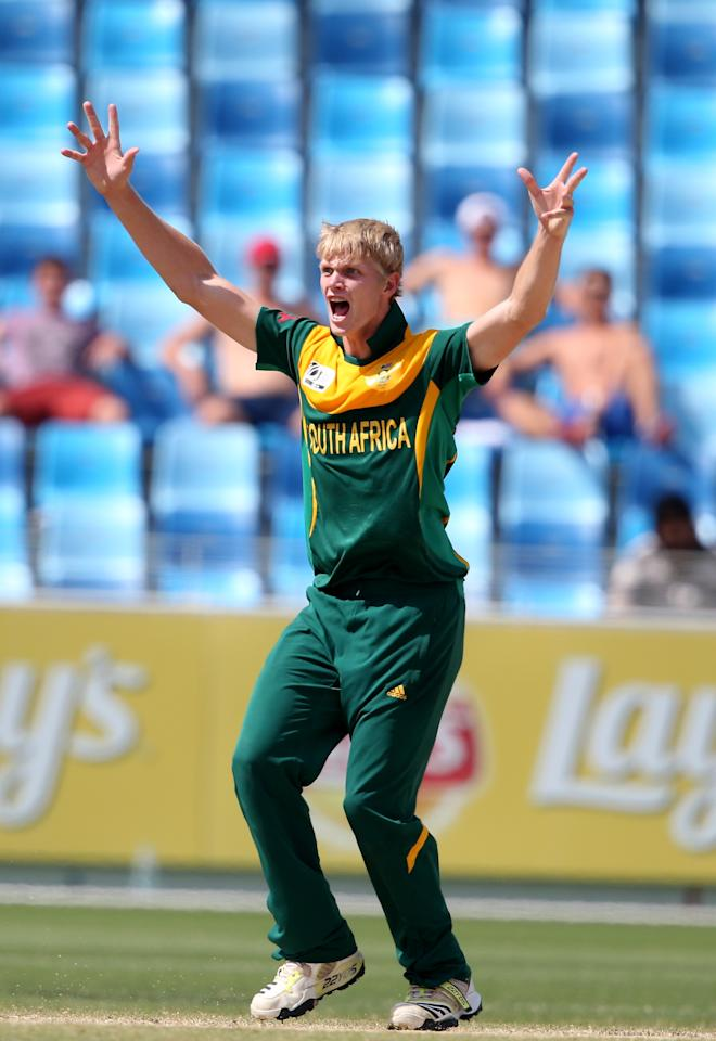 DUBAI, UNITED ARAB EMIRATES - MARCH 01:  Corbin Boch of South Africa bowls during the ICC U19 Cricket World Cup 2014 Super League Final match between South Africa and Pakistan at the Dubai Sports City Cricket Stadium on March 1, 2014 in Dubai, United Arab Emirates.  (Photo by Francois Nel - IDI/IDI via Getty Images)