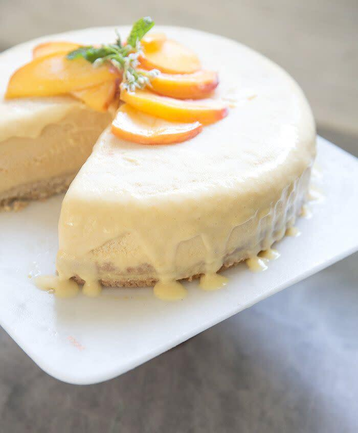 """<a href=""""http://www.whatscookinggoodlooking.com/whats-cooking-good-looking/2015/9/3/peach-honey-ice-cream-cake-toasted-cashew-crust-df-gf?rq=ice%20cream%20cake"""" rel=""""nofollow noopener"""" target=""""_blank"""" data-ylk=""""slk:Peach and Honey Ice Cream Cake (dairy- and gluten-free) from What's Cooking Good Looking"""" class=""""link rapid-noclick-resp""""><strong>Peach and Honey Ice Cream Cake (dairy- and gluten-free) from What's Cooking Good Looking</strong></a>"""