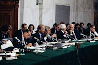 <p>Biden makes an opening statement before a hearing on Judge Clarence Thomas's nomination to the Supreme Court in 1991. </p>