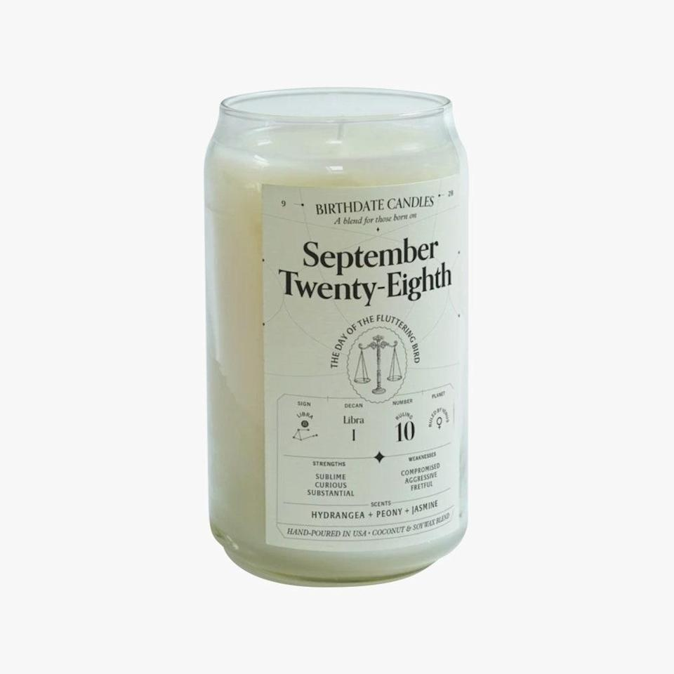 """Birthdate Candles has 365 candles—one for every birthday—making for the perfect long-distance gift idea for friends, relatives, and even for yourself. $38, BIRTHDATE CANDLES. <a href=""""https://birthdatecandles.com/products/september-twenty-eighths"""" rel=""""nofollow noopener"""" target=""""_blank"""" data-ylk=""""slk:Get it now!"""" class=""""link rapid-noclick-resp"""">Get it now!</a>"""