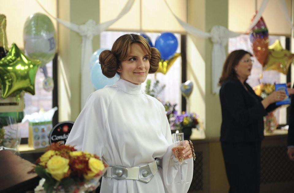 """<p>Yeah, Liz Lemon's Princess Leia costume might not be what you think of when you think """"best TV wedding dresses of all time,"""" but it's, like, kinda bridal. Plus it looks hella comfortable, so....</p>"""