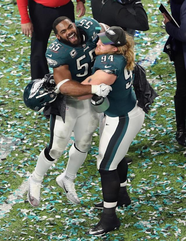 <p>Brandon Graham #55 and Beau Allen #94 of the Philadelphia Eagles celebrate winning Super Bowl LII against the New England Patriots at U.S. Bank Stadium on February 4, 2018 in Minneapolis, Minnesota. (Photo by Christian Petersen/Getty Images) </p>