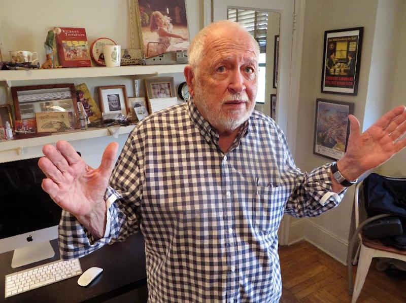 """This Oct. 21, 2013 photo shows writer and illustrator Bruce McCall in New York. McCall teamed up with TV host David Letterman for their new book """"This Land Was Made for You and Me (But Mostly Me)"""" by Blue Rider Press. (AP Photo/Frazier Moore)"""